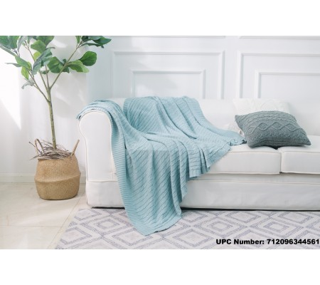 DOKOT Cable Knitting Sweater Throw Blanket, 100% Cotton Knitted All Season Couch, Sofa, Chair, Bed Cover