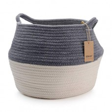 "DOKOT Natural Cotton Belly Basket with Handles, Infant Baby Storage Laundry Basket (Grey + White, D14"" x H10"")"