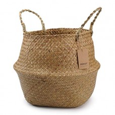 "DOKOT Natural Seagrass Belly Basket with Handles, Large Storage Laundry Basket (M(12.6"" Diameter x 11"" Height), Natural)"