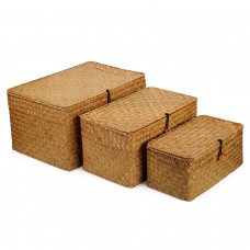 Rectangular Handwoven Seagrass Storage Basket with Lid and Home Organizer Bins, Set of 3