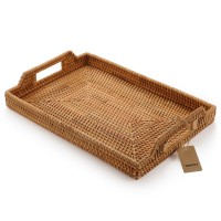 Rattan Tray Tea Trays Rectangle Serving Tray with Handles for Coffee Table, Food, Drinks, Dinner, Breakfast, Home Decor Natural