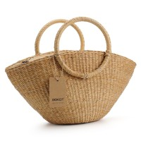 Hand-Woven Straw Bag with Round Handle Retro Casual Summer Beach Handbags
