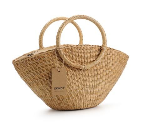 Hand-Woven Straw Bag with Round Handle Retro Casual Summer Beach Handbags