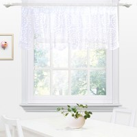 Embroidery Semi Sheer Lace Curtain Valances for Kitchen, Cafe, Dining Room